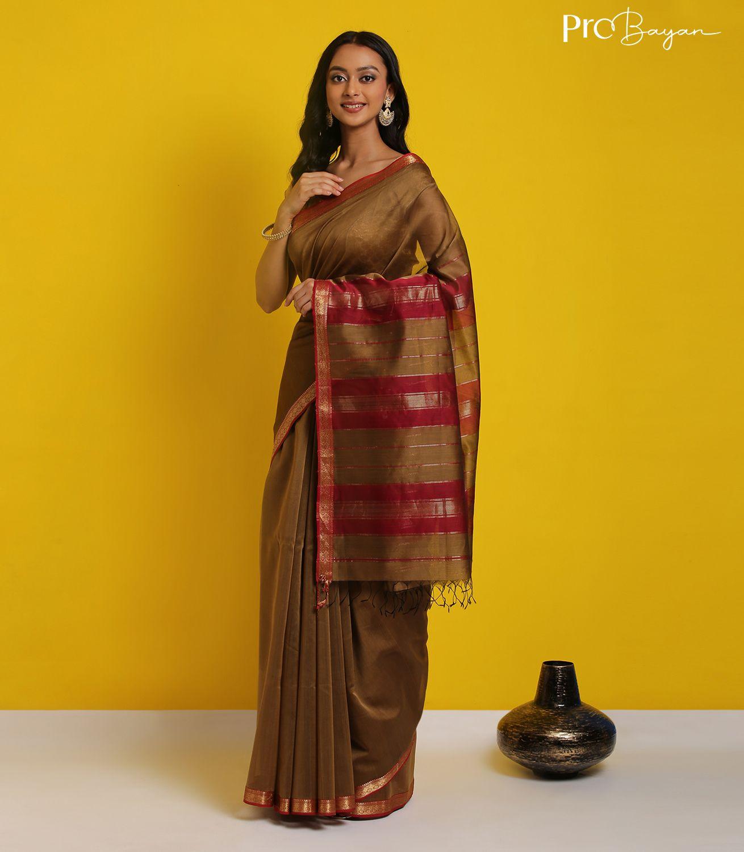Maheshwari Silk Cotton Caramel Brown Handwoven Saree