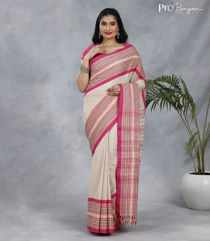 Begampuri Bengal Cotton Pure White & Pink Handwoven Saree