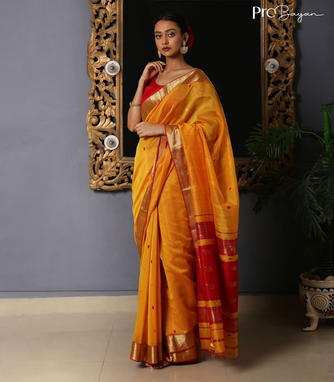 Maheshwari Silk Cotton Yellow & Red Full Body Butiwork Handwoven Saree