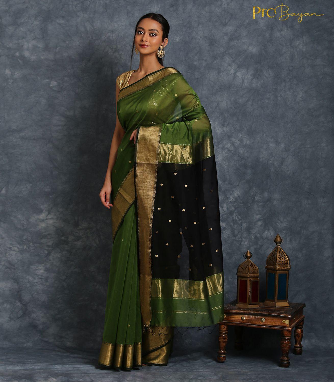 Maheshwari Silk Cotton Olive Green and Coal Black Handwoven Saree