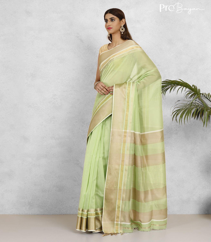 Maheshwari Silk Cotton Light Pear Green Handwoven Saree