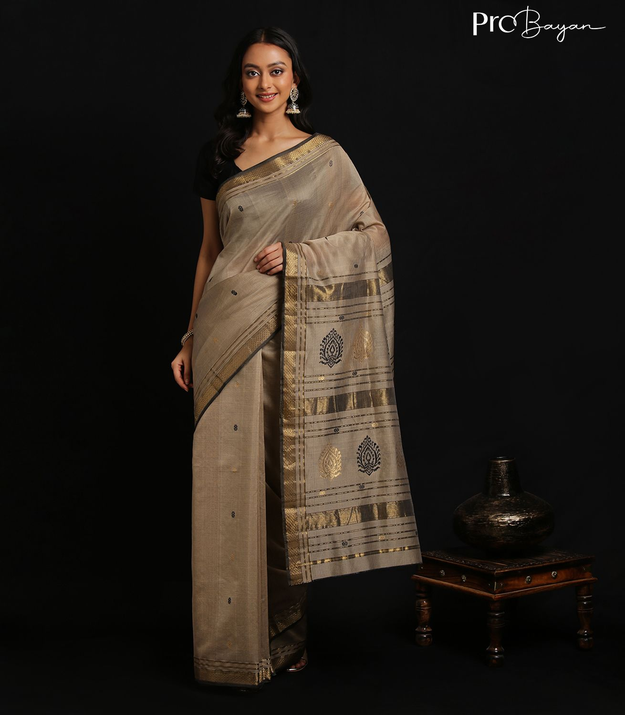 Maheshwari Silk Cotton Lace White Full Body Butiwork Handwoven Saree