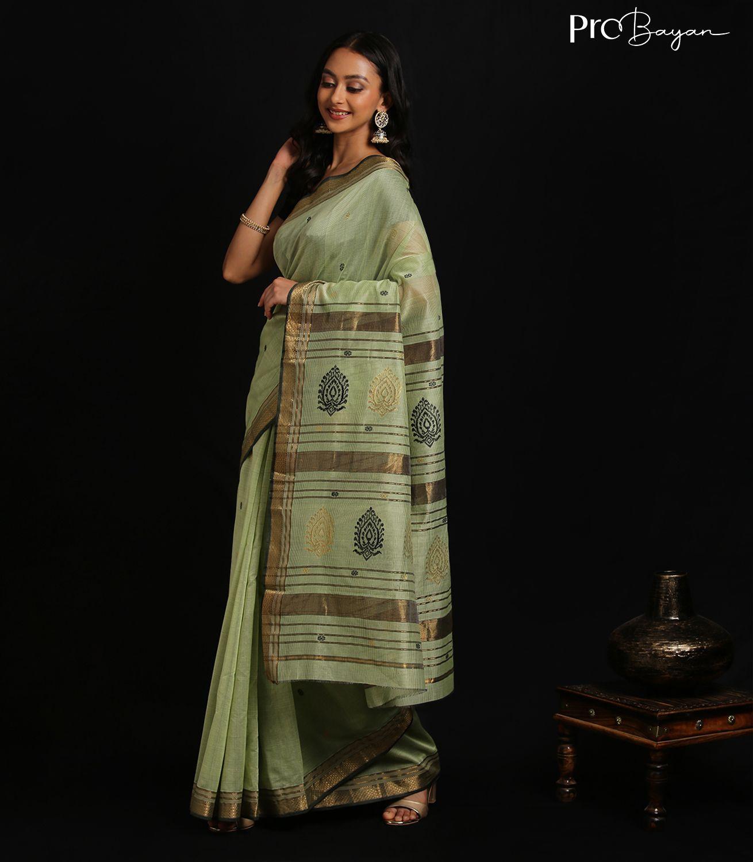 Maheshwari Silk Cotton Sage Green Full Body Butiwork Handwoven Saree