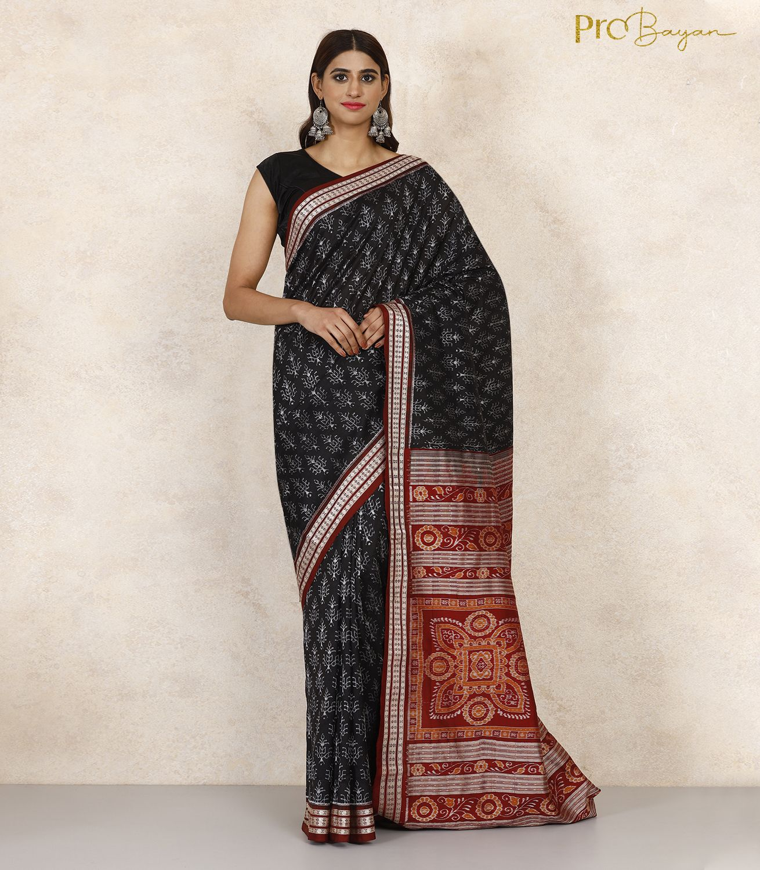 Sambalpuri Silk Midnight Black Full Body Work Handwoven Saree