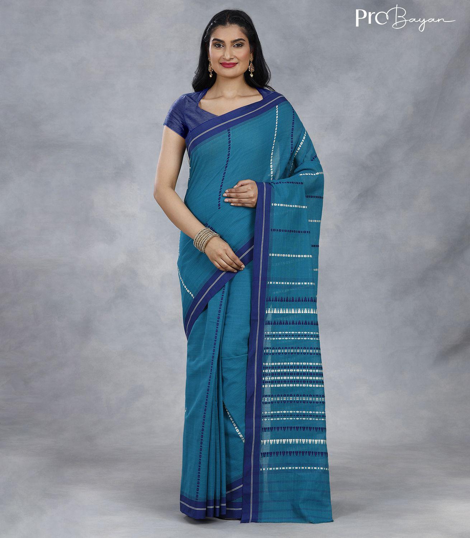 Begampuri Bengal Cotton Teal Blue Handwoven Saree