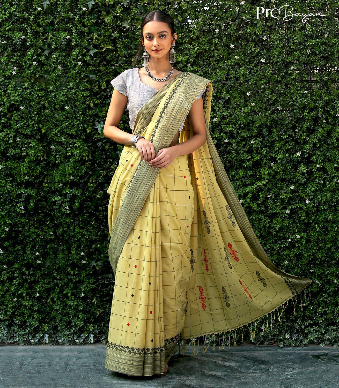 Tangail Mercerised Cotton Blonde Yellow Jamdani Motiffed Pallu Handwoven Saree
