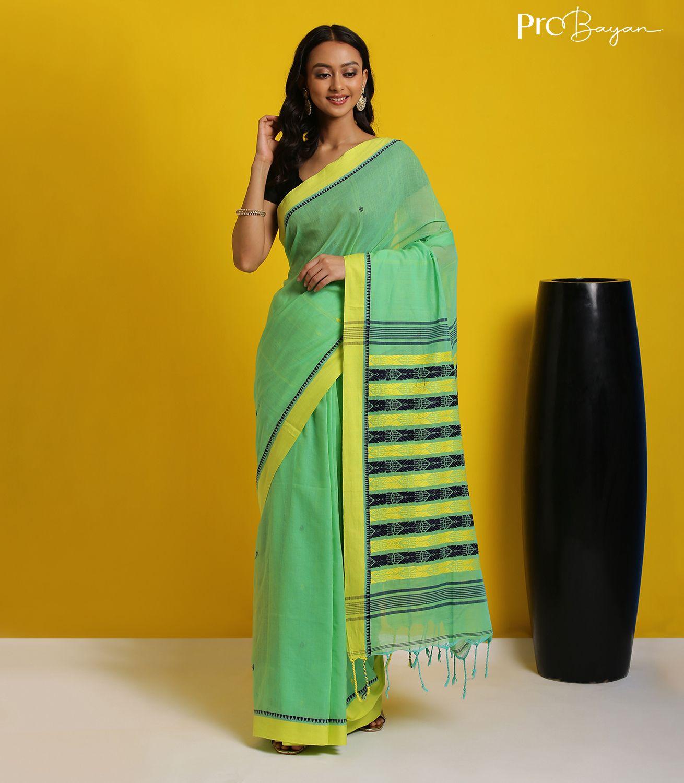 Tangail Khadi Cotton Ocado Green Handwoven Saree