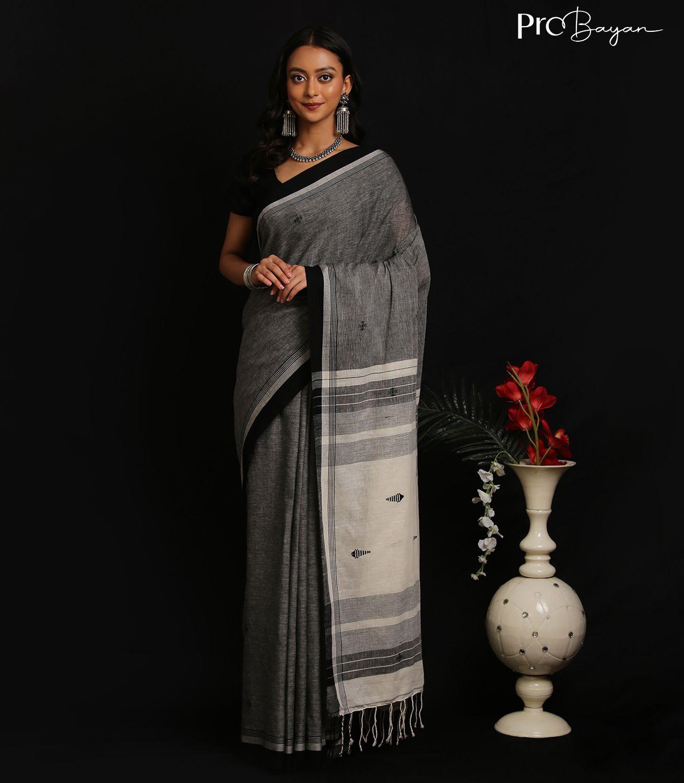 Tangail Khadi Cotton Pewter Grey Handwoven Saree