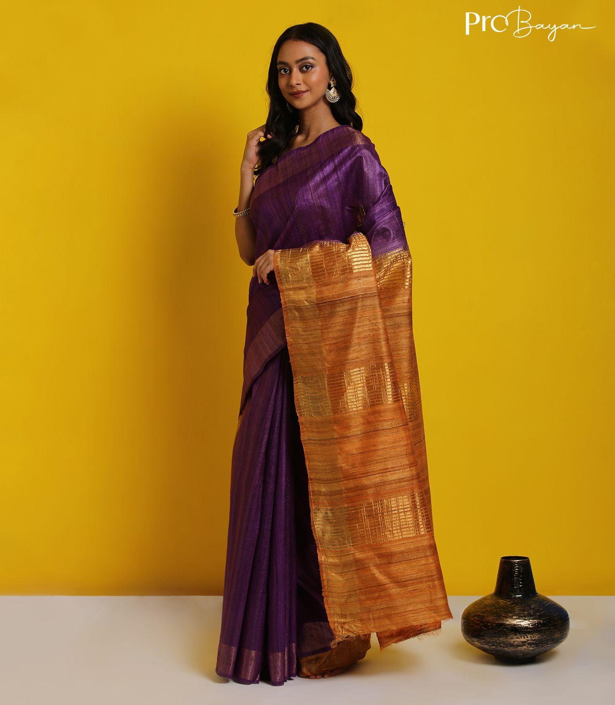 Tussar Ghicha Silk Indigo Violet and Fiery Yellow Handwoven Saree