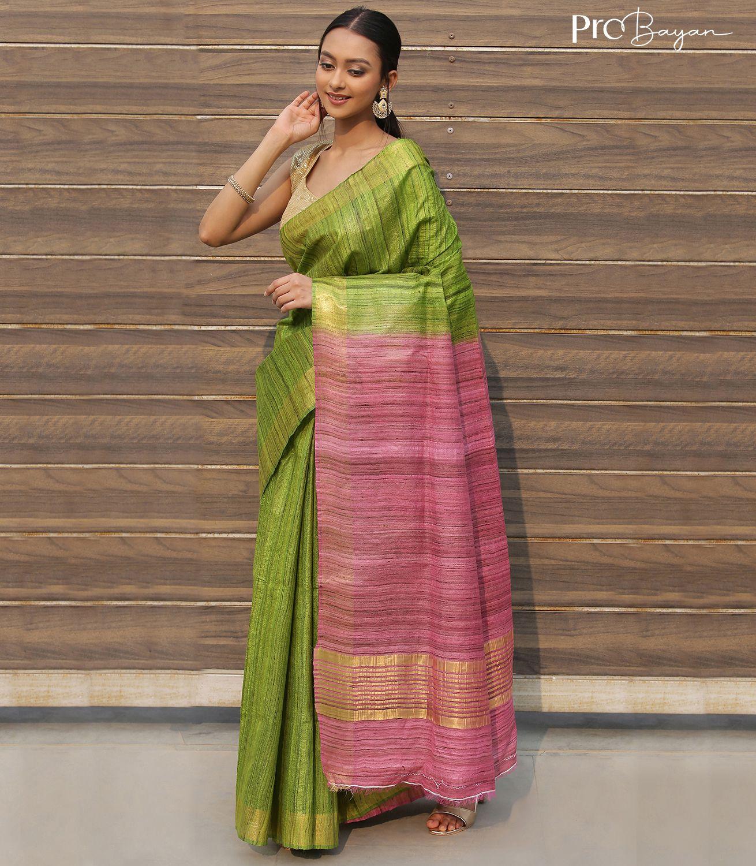 Tussar Ghicha Silk Lime Yellow and Taffy Pink Handwoven Saree