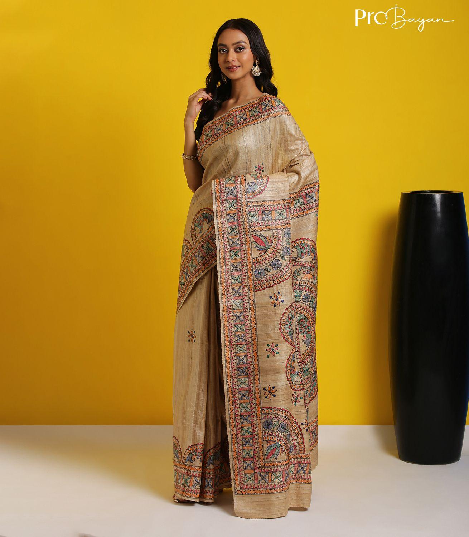 Madhubani Handpainted Tussar Ghicha Silk Dutch White Handwoven Saree