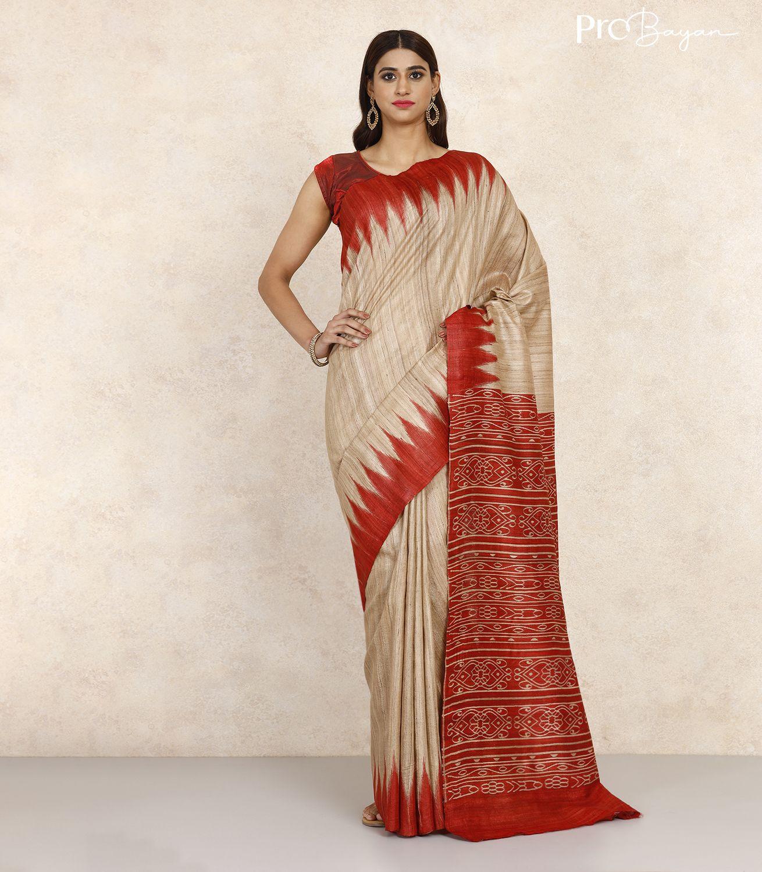 Tussar Ghicha Silk Cream White & Red Handwoven Saree