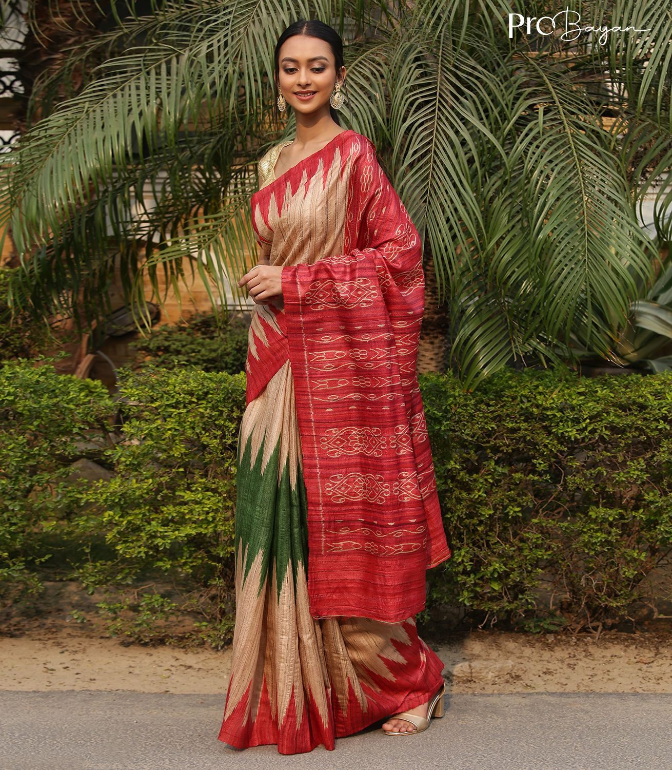 Tussar Ghicha Silk Ecru White with Red and Green Temple Border Handwoven Saree