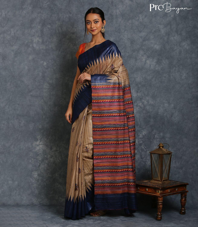 Tussar Ghicha Silk Vanilla White and Blue Border Handwoven Saree