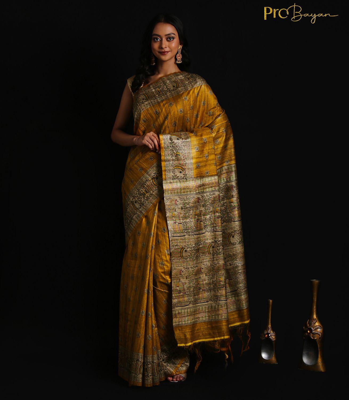 Tussar Ghicha Silk Golden Yellow Handwoven Saree