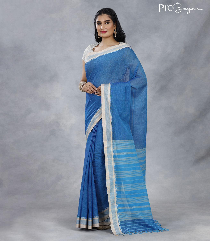 Begampuri Bengal Cotton Light Azure Blue Handwoven Saree