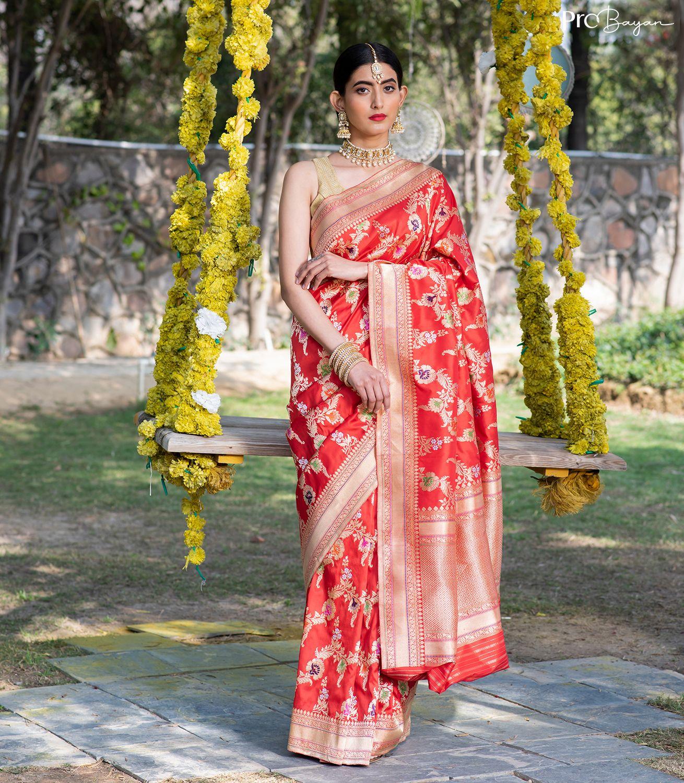 Exclusive Banarasi Silk Candy Red Kaduwa Jangla Minakari Handwoven Saree