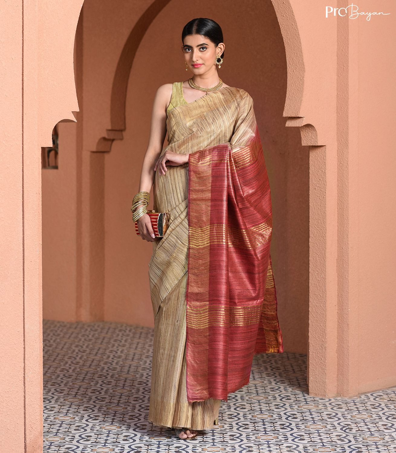 Tussar Ghicha Silk Off-White and Rosewood Pink Handwoven Saree