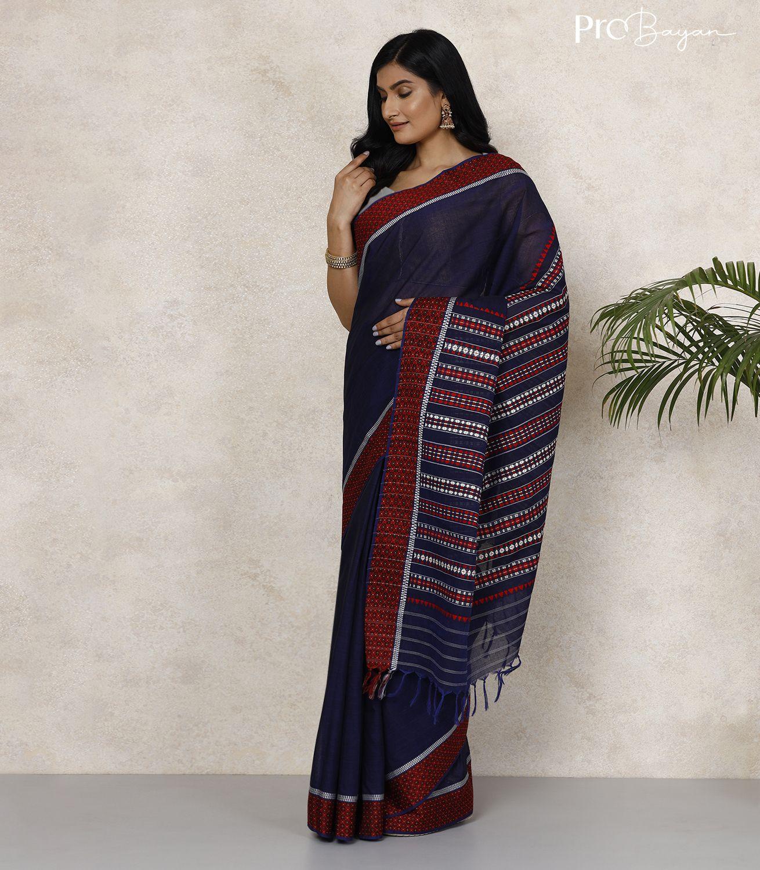 Begampuri Bengal Cotton Oxford Blue Handwoven Saree