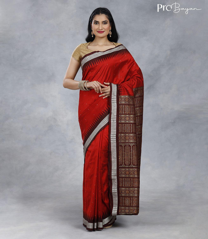 Bomkai Silk Apple Red Handwoven Saree