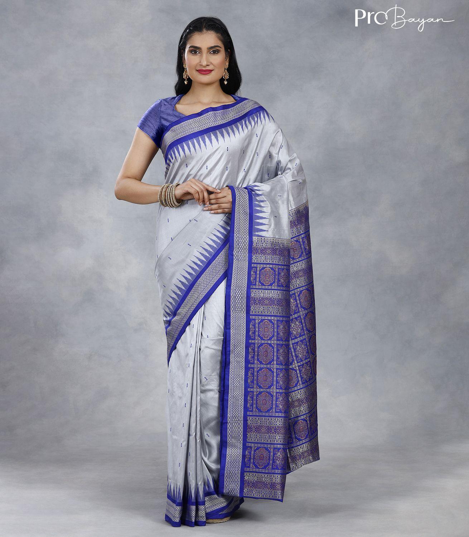 Bomkai Silk Pearl White Traditional Pallu Handwoven Saree