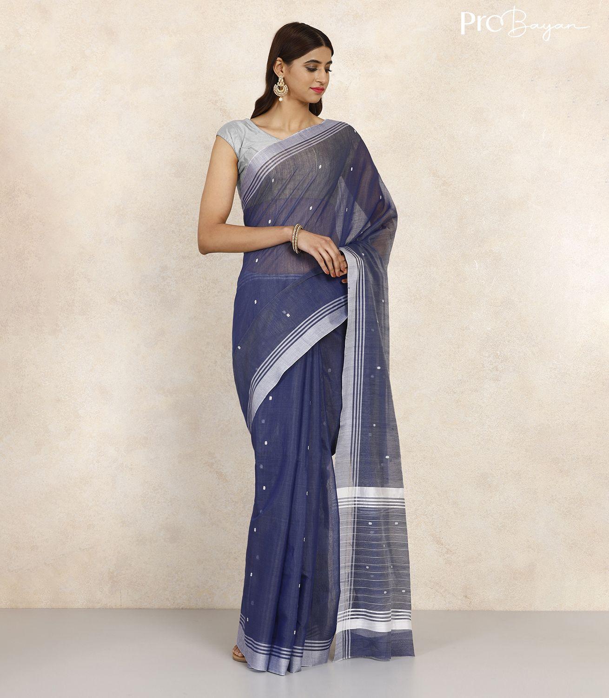 Chanderi Sapphire Blue Handwoven Saree