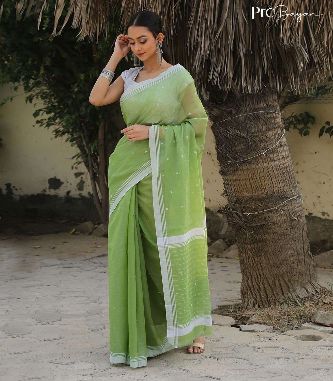 Chanderi Pear Green Handwoven Saree