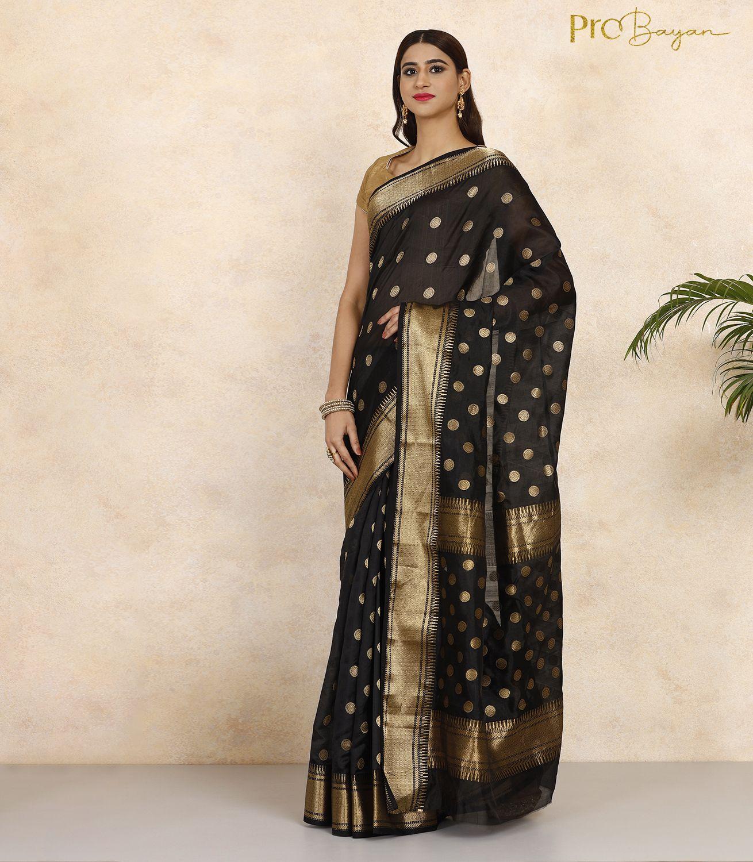 Chanderi Pattu Silk Midnight Black Full Body Golden Buta Handwoven Saree