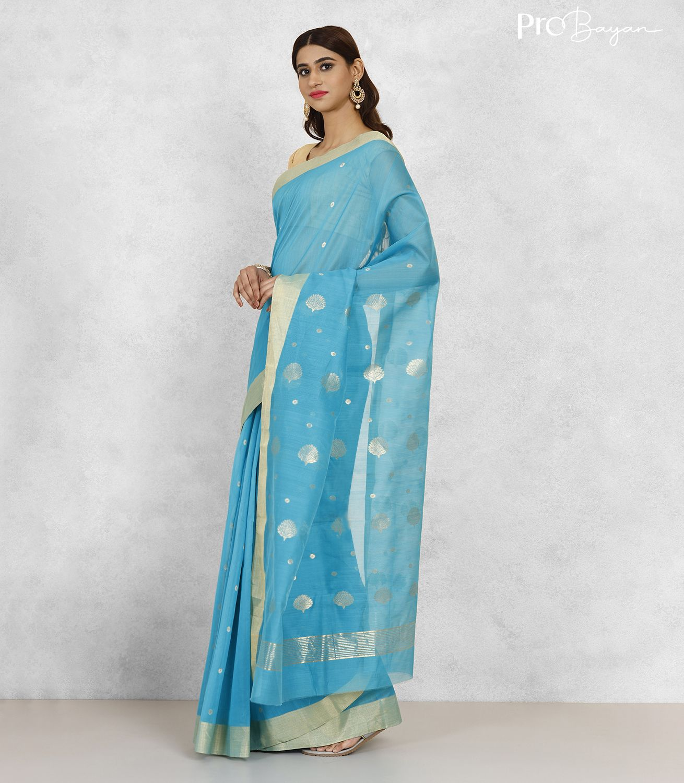 Chanderi Mercerised Silk Sky Blue Handwoven Saree