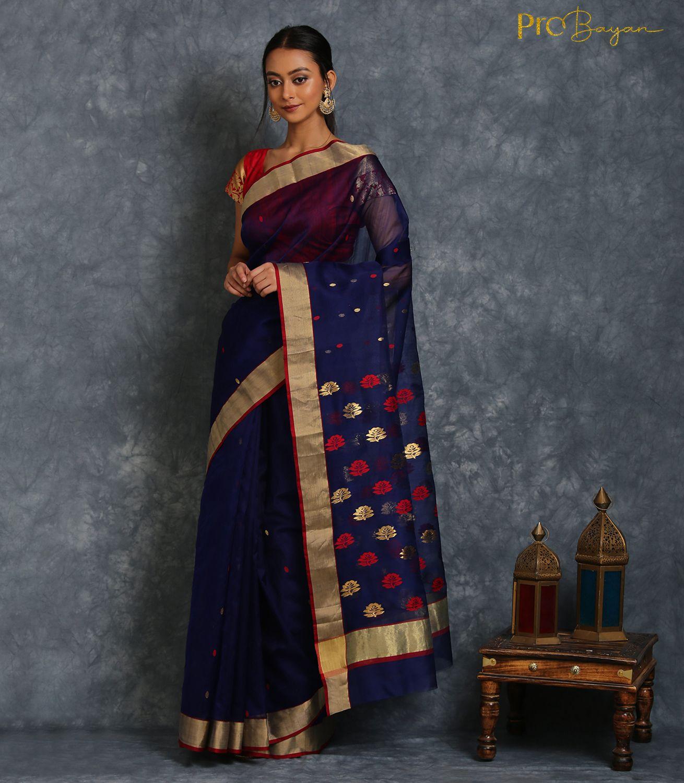 Chanderi Mercerised Silk Royal Blue Embroidered Handwoven Saree