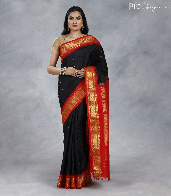 Gadwal Silk Black and Red Premium Pallu Handwoven Saree