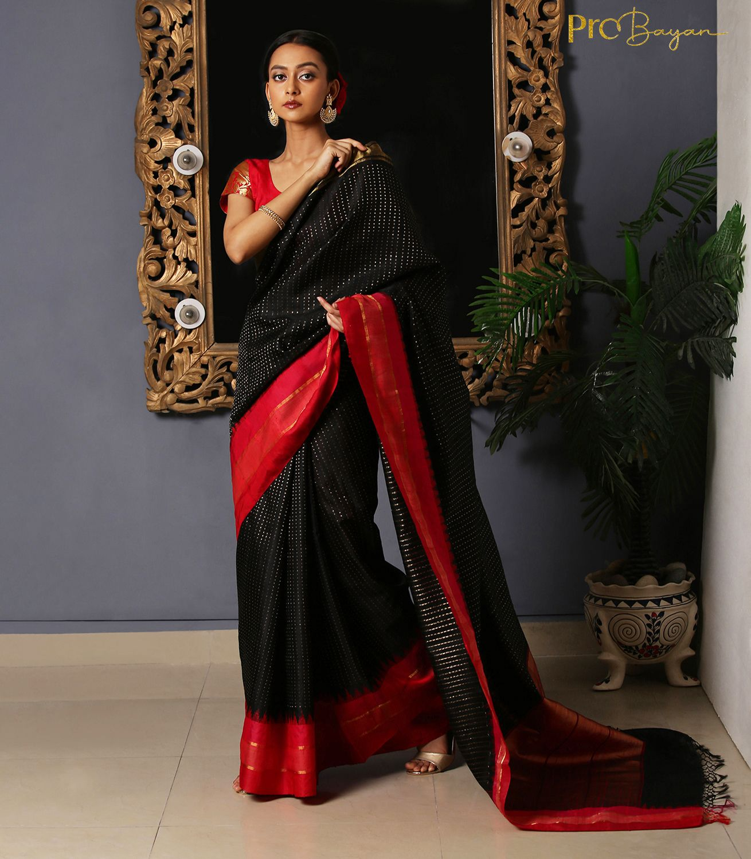 Kosa Dupion Silk Black Full Body Golden Buti Handwoven Saree