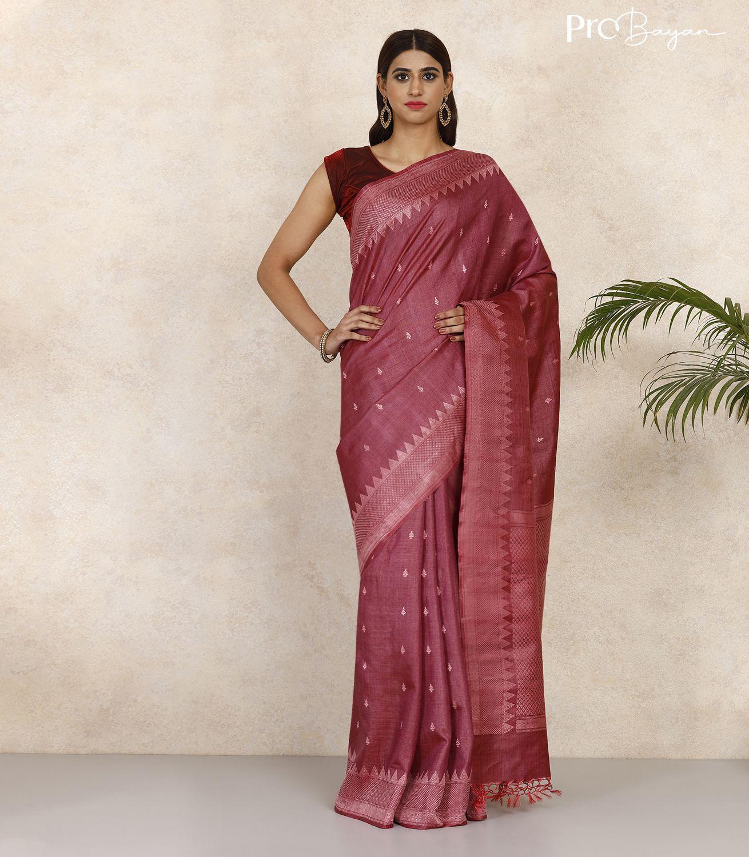 Kosa Silk Mellow Mauve Full Body Butiwork Handwoven Saree