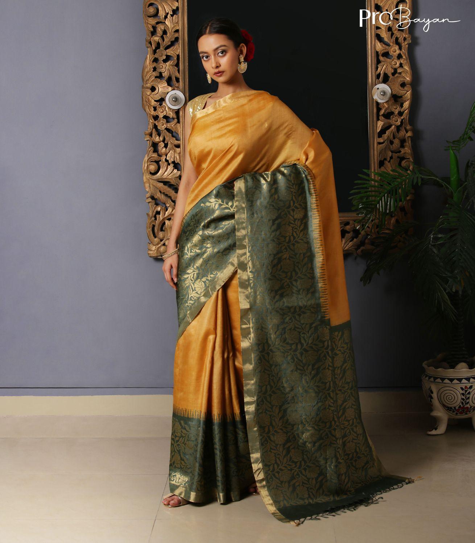 Kosa Silk Mellow Yellow & Green Jala Pallu Handwoven Saree