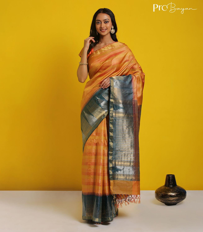 Desi Kosa Silk Yellow and Orange Striped Handwoven Saree