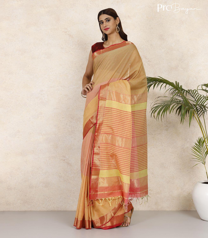 Maheshwari Cotton Multicolor Handwoven Saree