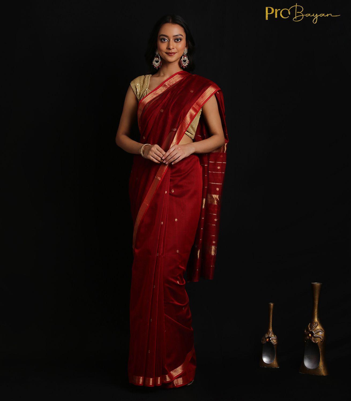 Maheshwari Silk Cotton Ruby Red Handwoven Saree