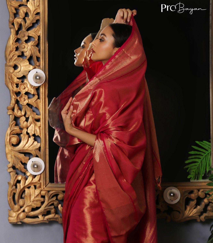 Maheshwari Silk Hot Pink Full Body Zari Handwoven Saree