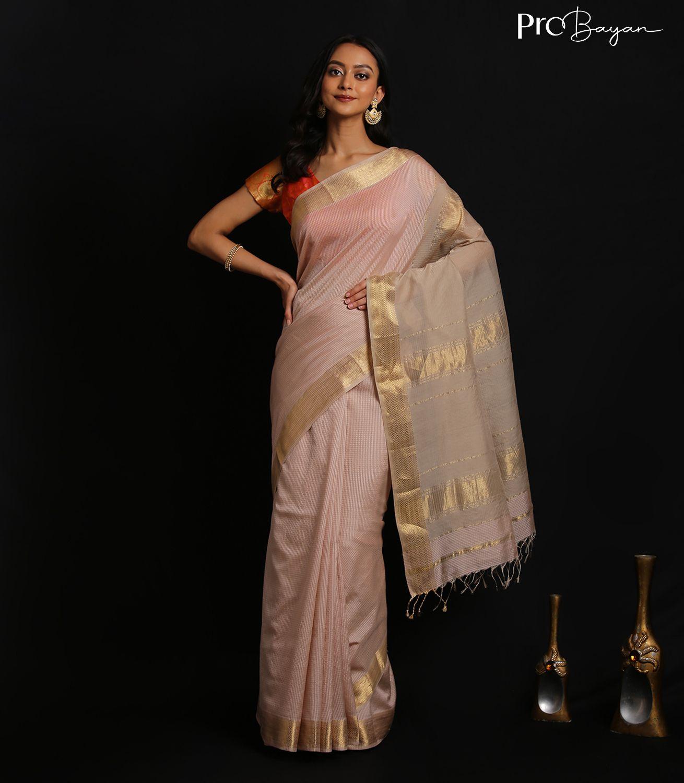 Maheshwari Silk Cotton Malt White Garbh Resham Handwoven Saree