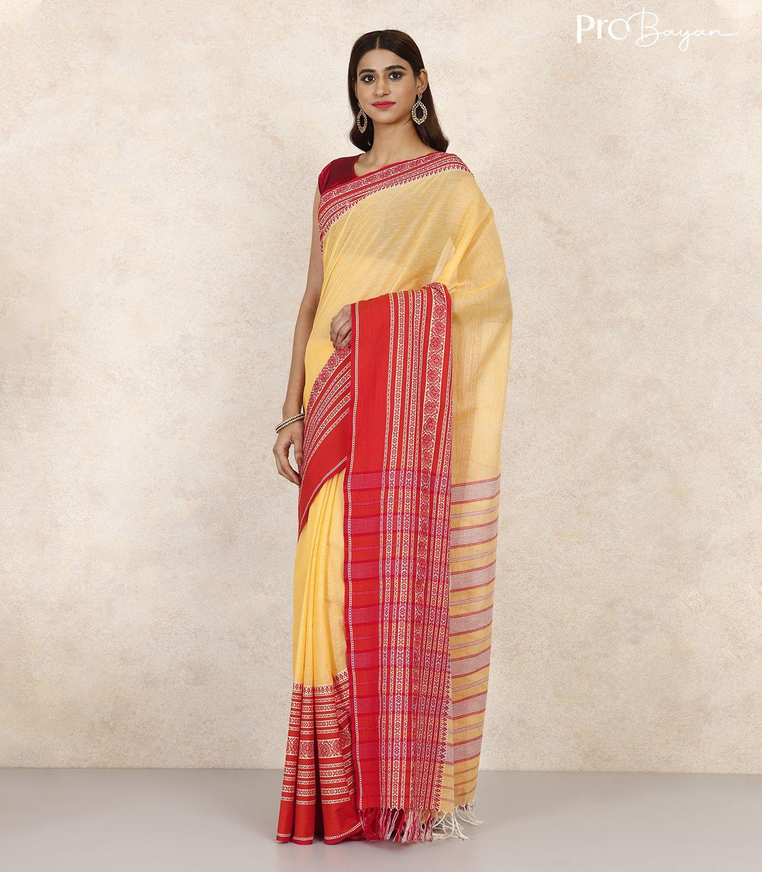 Begampuri Bengal Cotton Daffodil Yellow Handwoven Saree