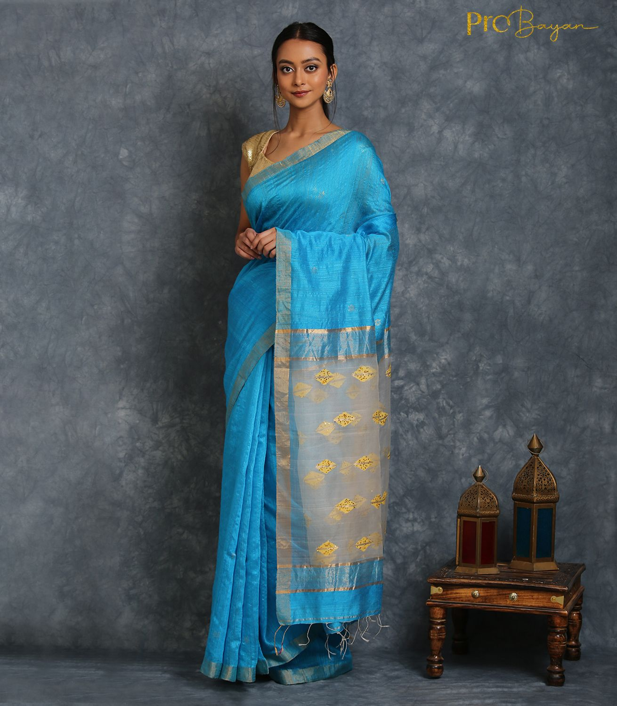 Motka Silk Sky Blue Handspun Saree