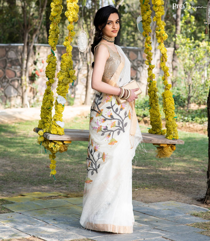 Exclusive Motka Jamdani Pearl White Handspun Silk Saree