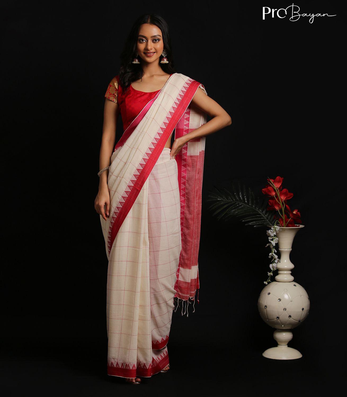 Mul Cotton Coconut White Full Body Checkered Handwoven Saree