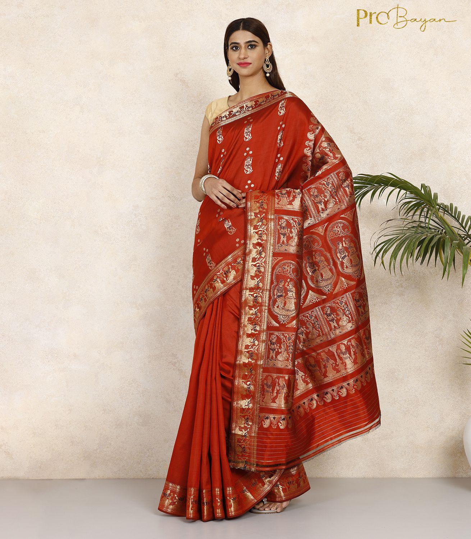 Swarnachari Silk Blood Red Minakari Handwoven Saree